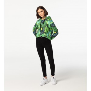 Tropical CROPPED Hoodie without pocket